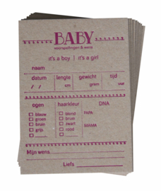 Babyshower | Baby voorspellingskaarten | Meisje (set) | kraft