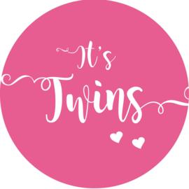 Geboorte sluitzegels | Tweeling | It's twins |  fuchsia roze