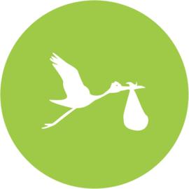 Geboorte sluitzegels | Ooievaar | groen