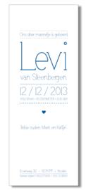 Geboortekaartje | letterpress  | 8 x 20 cm | 1 kleur  | 'Lettertype dun | jongen' vanaf