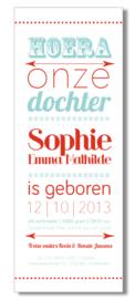 Geboortekaartje | letterpress  | 8 x 20 cm | 2 kleuren  | 'Hoera een dochter' vanaf