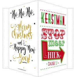 Kerstbord/raambord | Kerstman + Merry Christmas & Happy New Year | rood/groen /goud/zwart vanaf
