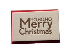 Kerstkaart | Ho ho ho Merry Christmas | 450 gram | goud