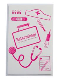 Kaart beterschap | Beterschap | fluor roze dik