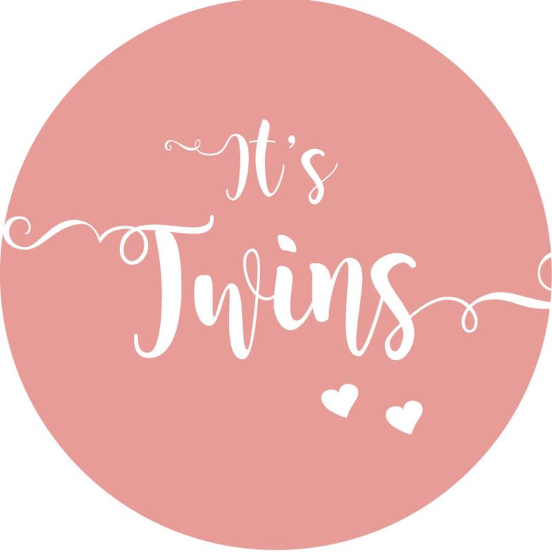 Geboorte sluitzegels   Tweeling   It's twins   oudroze