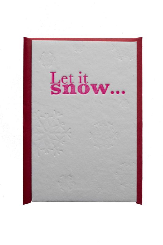 Kerstkaart | Let is snow | 850 gram | neon roze