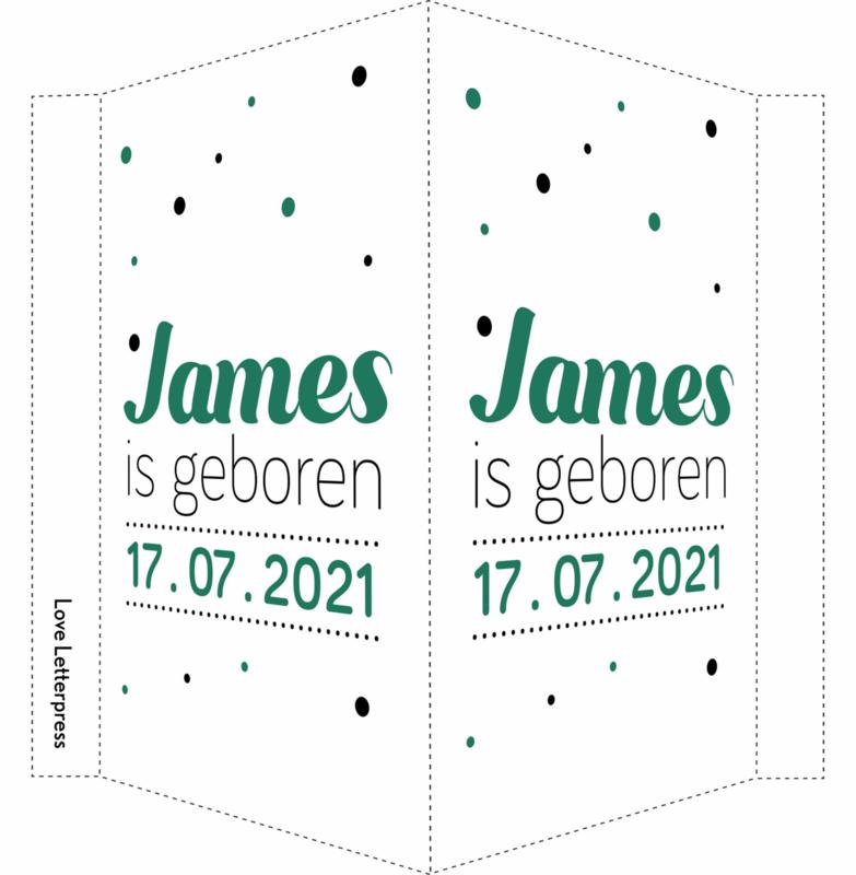 Geboortebord/ raambord | confetti| zoon | groen vanaf