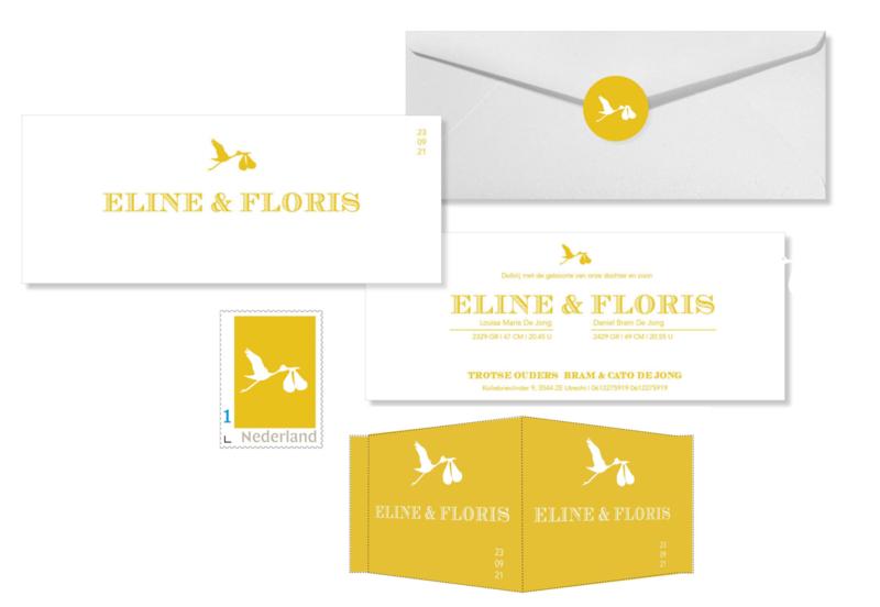 Geboortekaartje | letterpress  | 8 x 20 cm | 2 kleuren | 'tweeling ooievaar okergeel'' vanaf