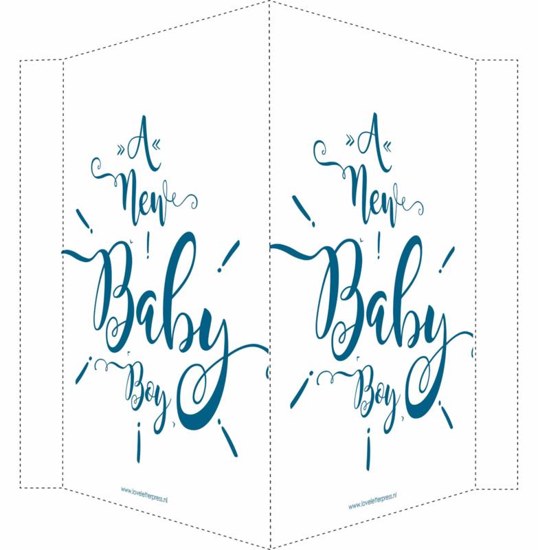 Geboortebord/ raambord | A newborn baby (handlettering) | blauw
