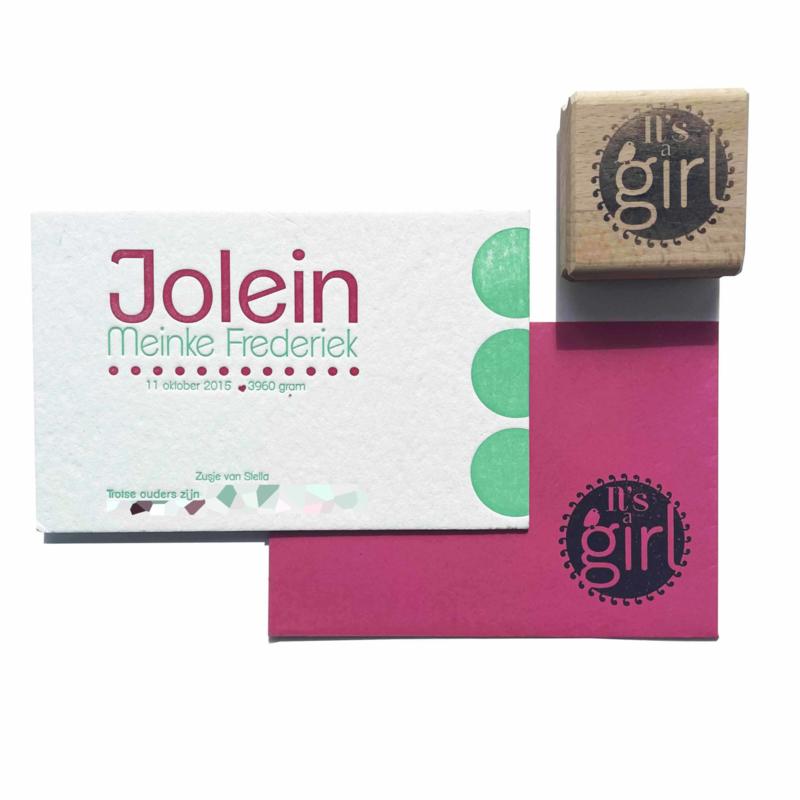 Geboortekaartje   letterpress    11 x 17cm   2 keuren   'Jolein' vanaf