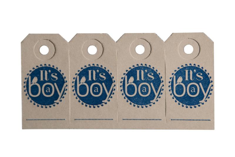 Labels   It's a boy   marine blauw