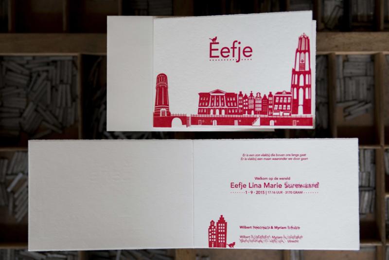 Geboortekaartje | letterpress  | 10 x 15cm | 2 drukgangen | ' Skyline Utrecht Poes ' vanaf