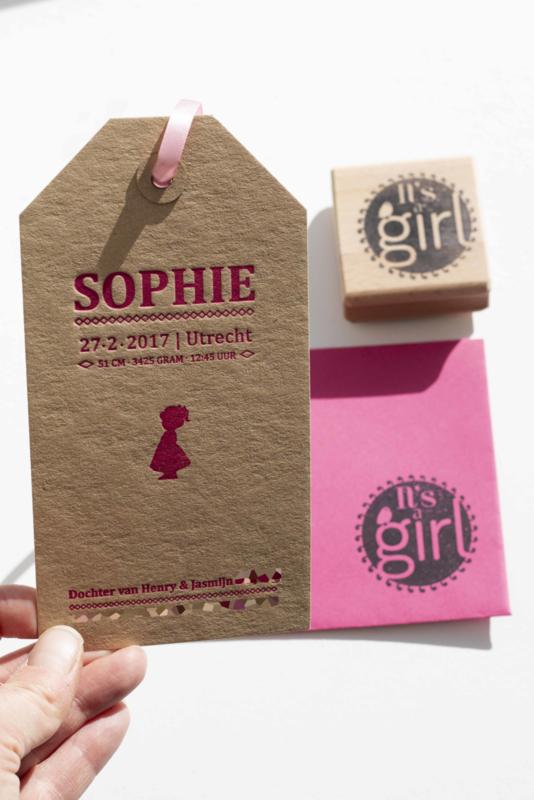 Geboortekaartje | letterpress  | 9 x 17 cm | 1 kleur | 'Label Sophie' vanaf