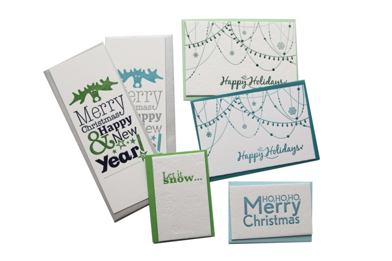 Kerstkaart en labels    Set 'Happy Holidays'    blauw/groen