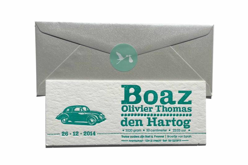 Geboortekaartje | letterpress  | 8 x 20 cm | 1 kleur | 'Vintage auto' vanaf