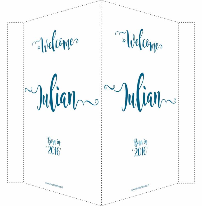 Geboortebord/ raambord  Welcome (handlettering)   naam   petrol blauw vanaf