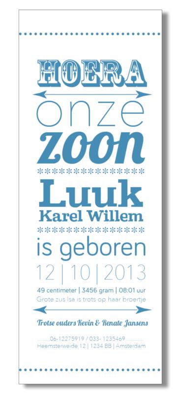 Geboortekaartje | letterpress  | 8 x 20 cm | 1 kleur  | 'Hoera een zoon' vanaf