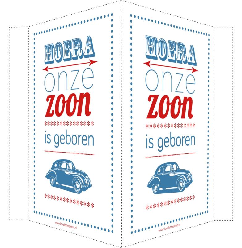 Geboortebord/ raambord | Geboren vintage wieg | zoon | blauw