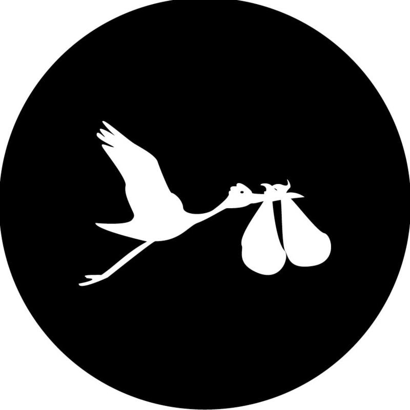 Geboorte sluitzegels | Tweeling | Ooievaar dicht | wit/zwart