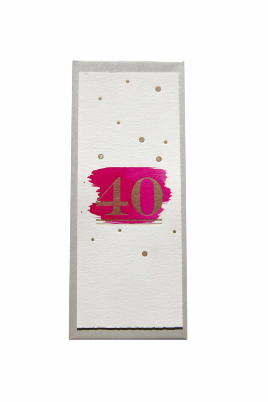 Kaart verjaardag/getrouwd| 40!! | roze/goud | enkel