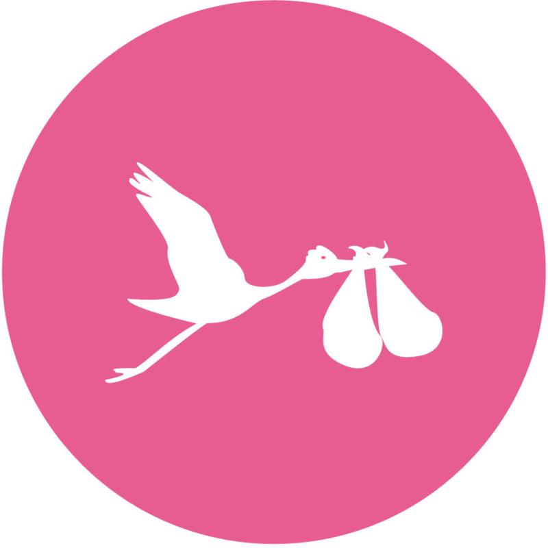Geboorte sluitzegels | Tweeling | Ooievaar dicht | fuchsia roze