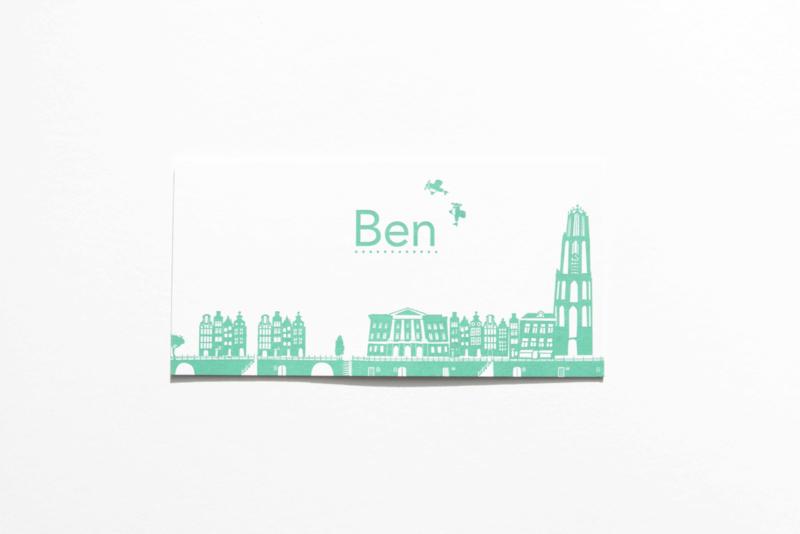 Geboortekaartje | letterpress  | 10 x 20 cm | 1 kleur | 'Skyline Utrecht | Ben' vanaf