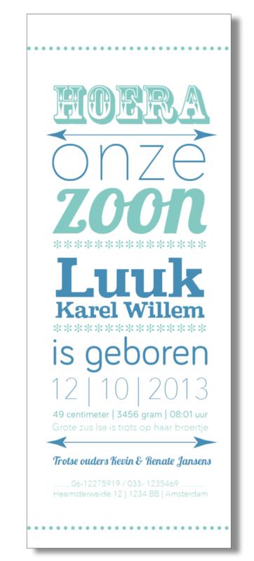 Geboortekaartje | letterpress  | 8 x 20 cm | 2 kleuren  | 'Hoera een zoon' vanaf