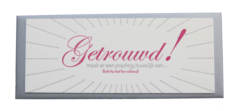Kaart bruiloft | Getrouwd | zilver/roze