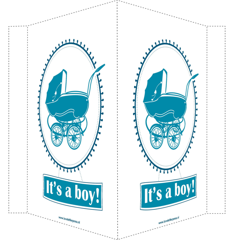 Geboortebord/ raambord | Vintage kinderwagen It's a boy | petrol blauw