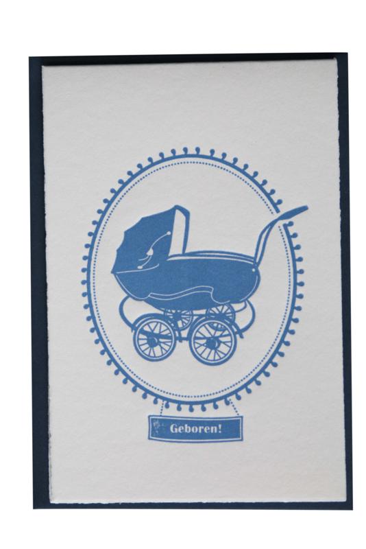 Kaart geboorte | Geboren vintage kinderwagen | blauw