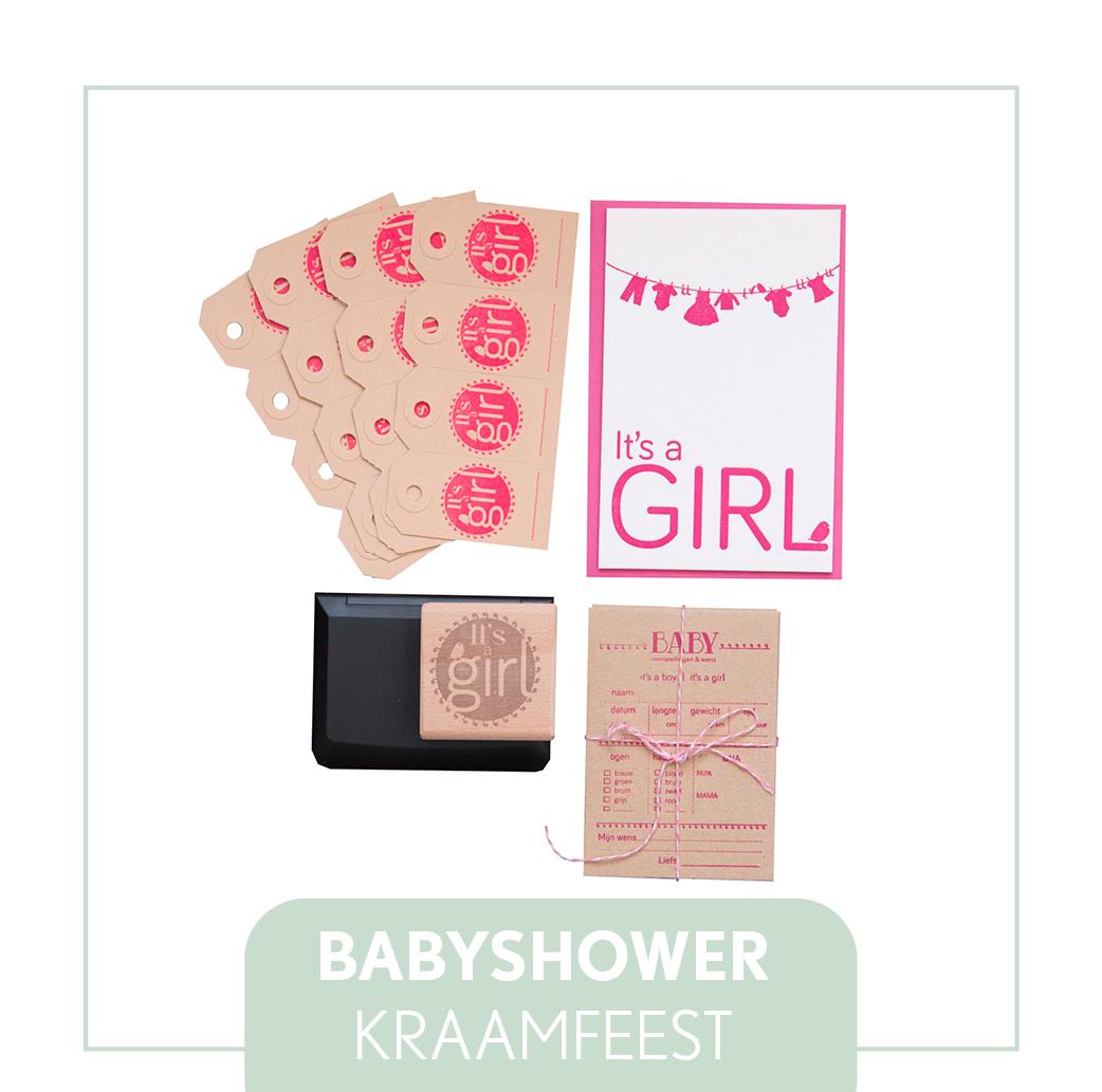 babyshower pakket origineel kraamfeest letterpress goedkop
