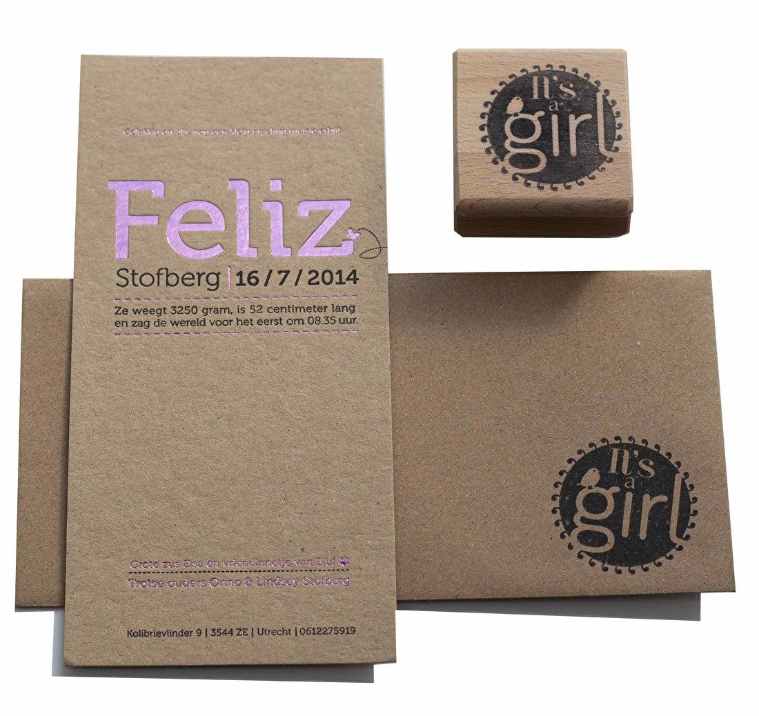 geboortekaartje letterpress, kraft papier, goedkoop, foliedruk, folie roze metallic, katoen papier. geboorte, meisje
