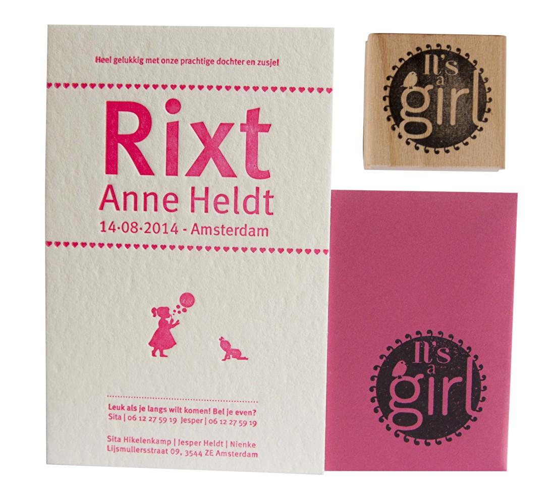 Geboortekaartje letterpress goedkoop, meisje, met geboortestationery