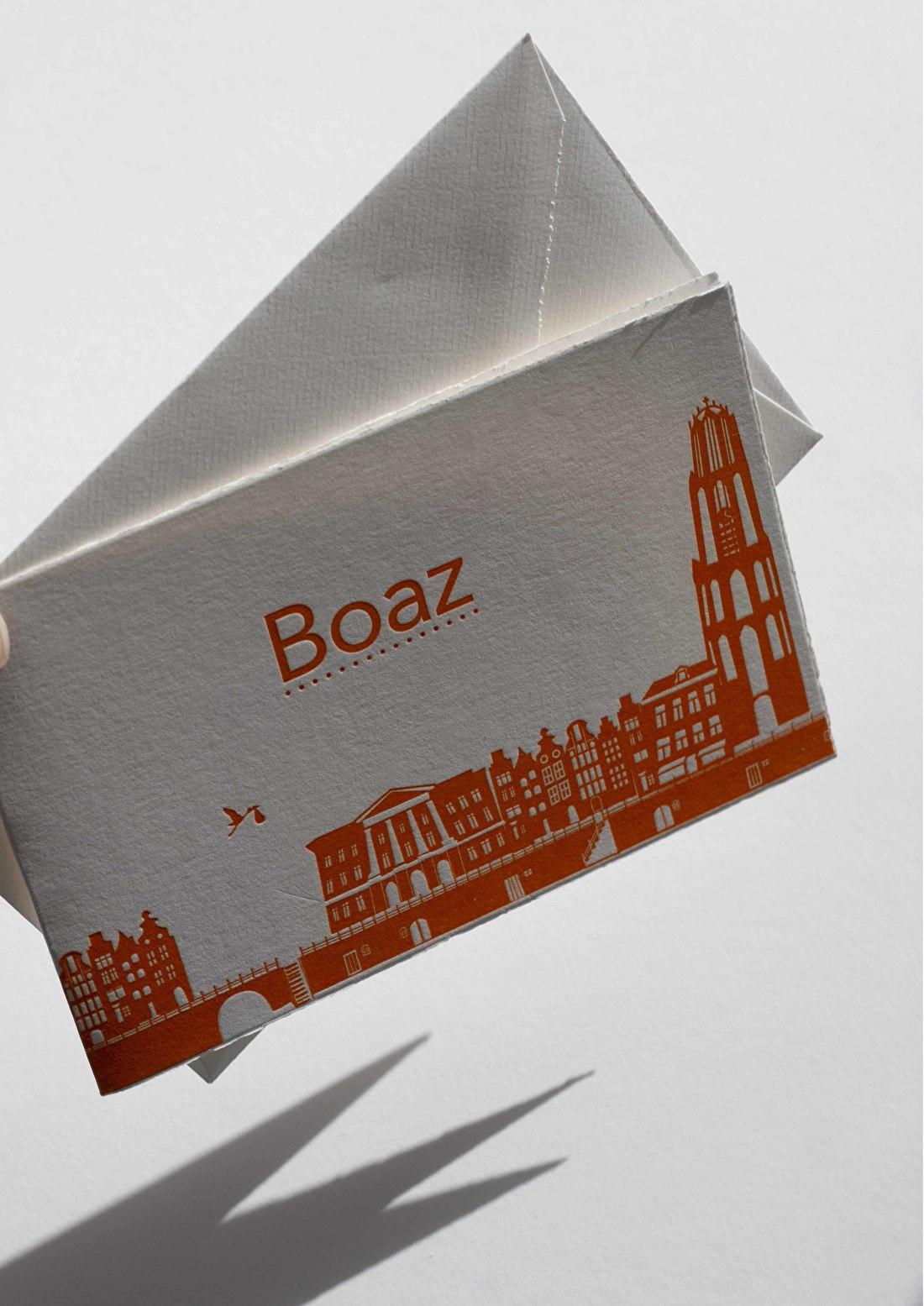 Geboortekaartje oud hollands papier met scheprand, goedkoop, skyline Utrecht,  de dom