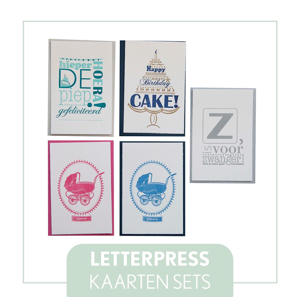 letterpress kaarten sets verjaardag liefde bruiloft zwanger