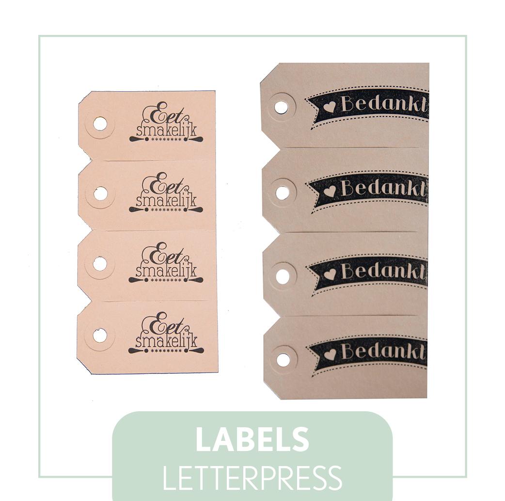 labels letterpress bruiloft trouwen geboorte verjaardag dinner high tea
