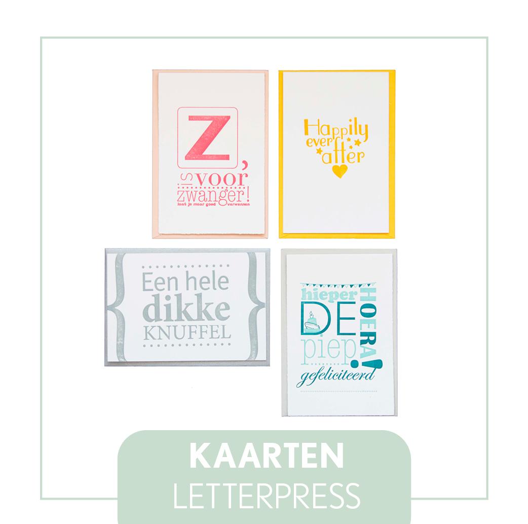 kaarten letterpress goedkoop set verjaardag geboorte beterschap thank you