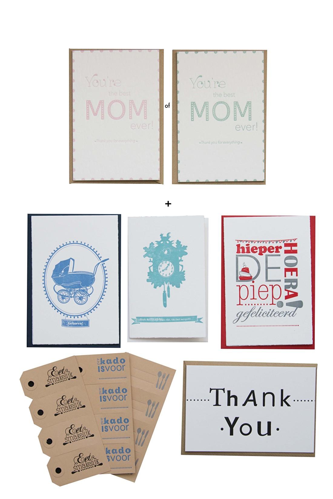 Moderdag cadeau set luxe kaarten en labels letterpress goedkoop