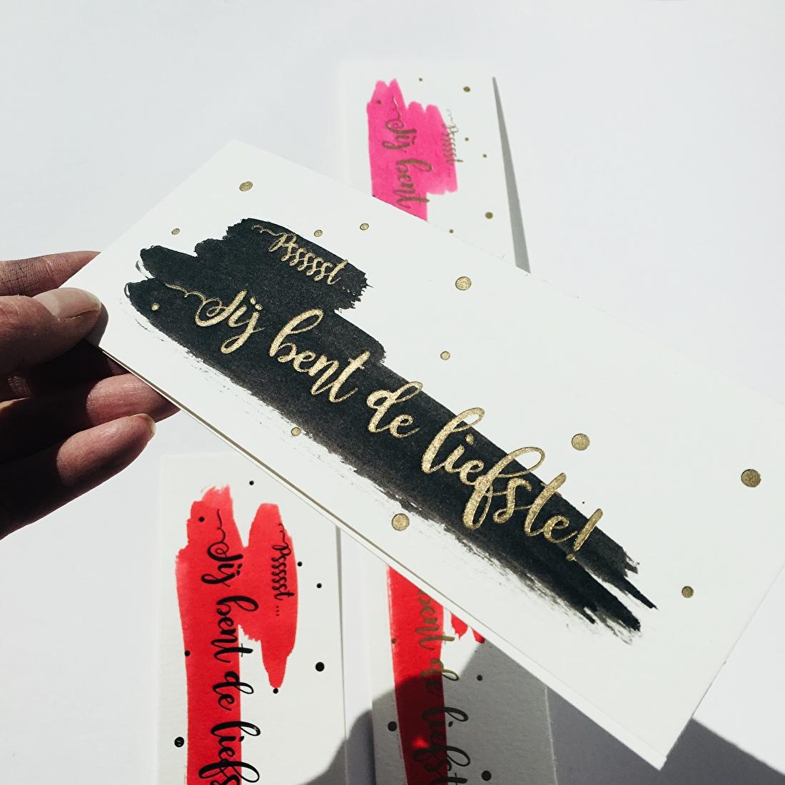 Moederdag kaartje jij bent de liefste mama in goud zwart, letterpress goedkoop