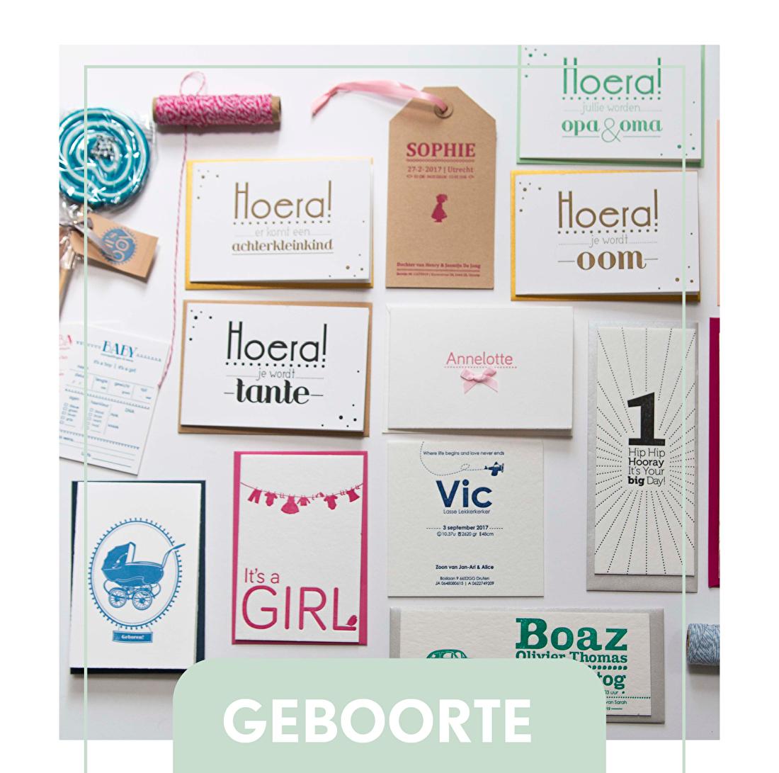 geboortjekaartje letterpress, sluitzegels, raamboden geboorte, goedkoop