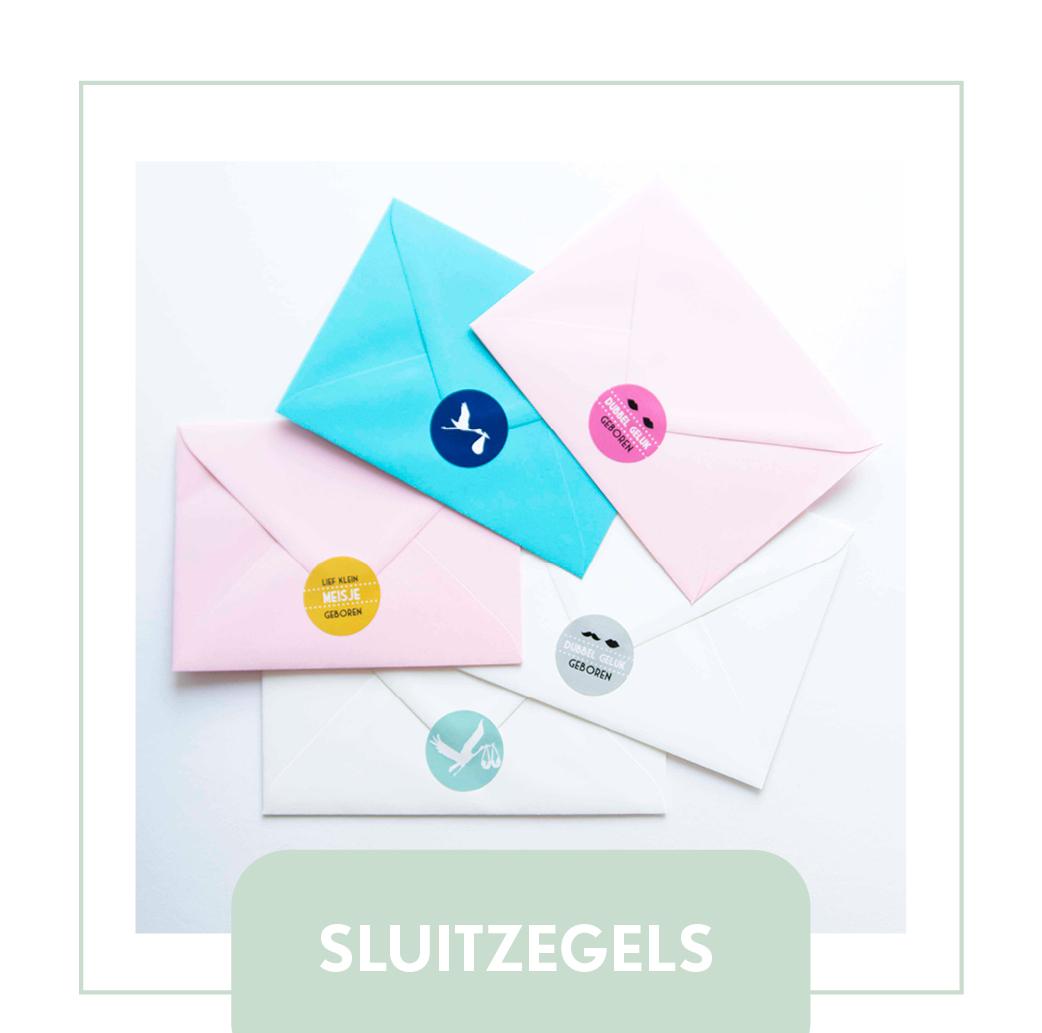 hippe sluitzegels/stickers geboorte enveloppen ooievaar tweeling