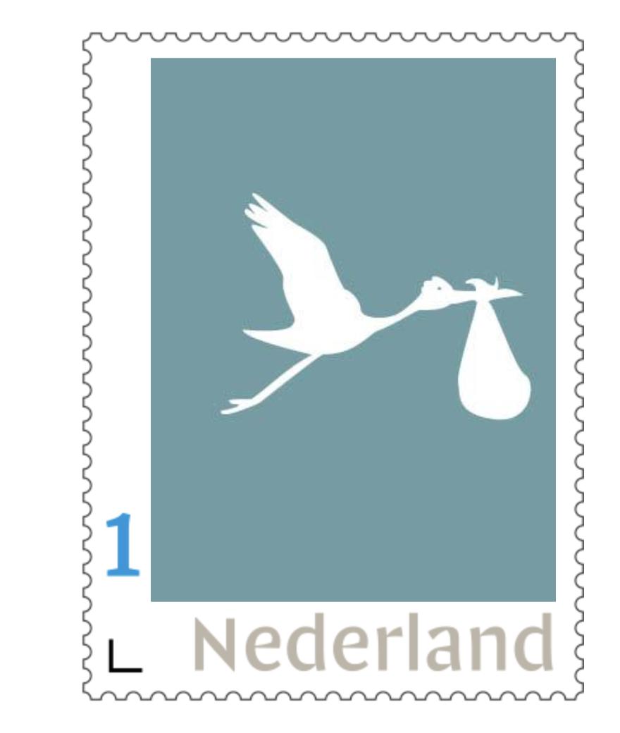 persoonlijke postzegel geboorte, jongen, ooievaar,