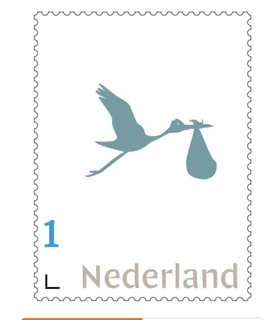 persoonlijke postzegel geboorte, jongen petrol blauw, ooievaar