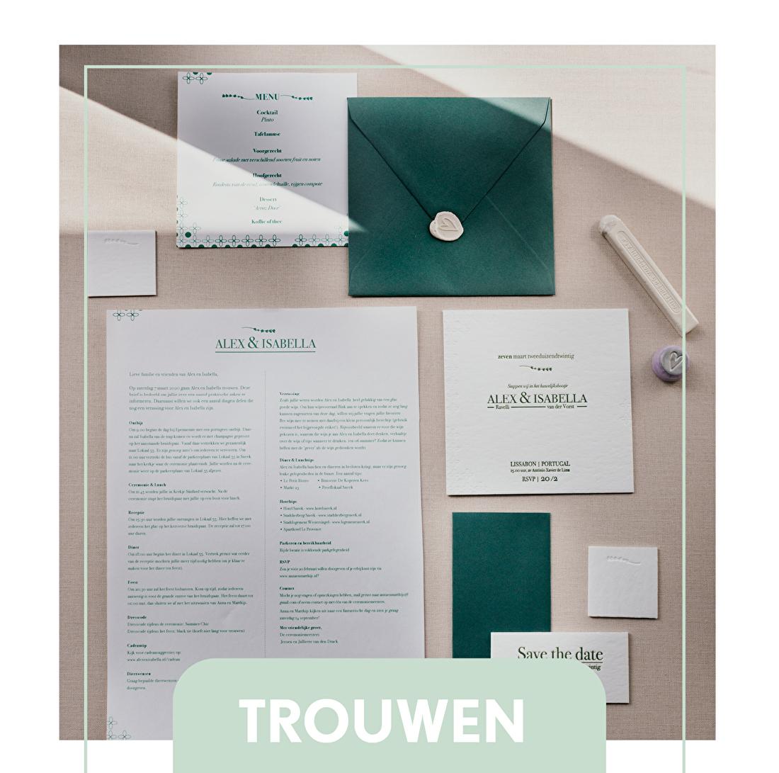 Trouwkaart letterpress, trouwstijl, trouwborden, raamborden, goedkoop, tbruiloft