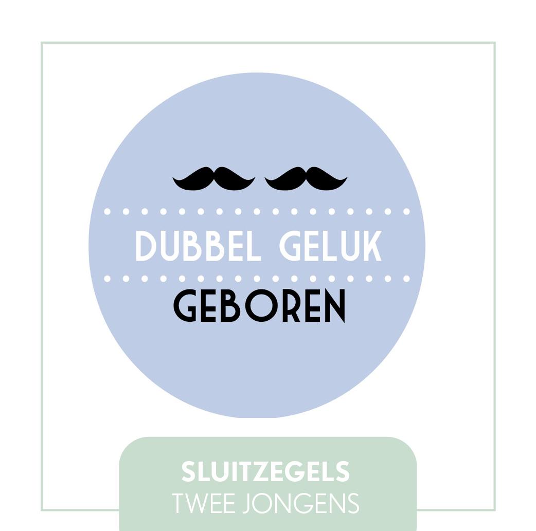 TWEELING GEBOORTE SLUITZEGELS/STICKERS JONGENS JIP MODERN GOEDKOOP