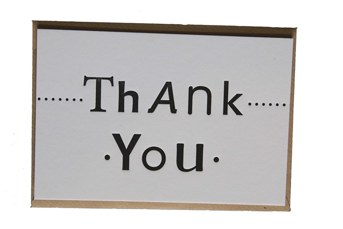Moederdag kaart Thank you, bedanken, cadeau, goedkoop letterpress