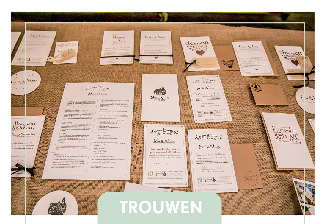 Trouwkaarten letterpress, trouwstijl, trouwborden
