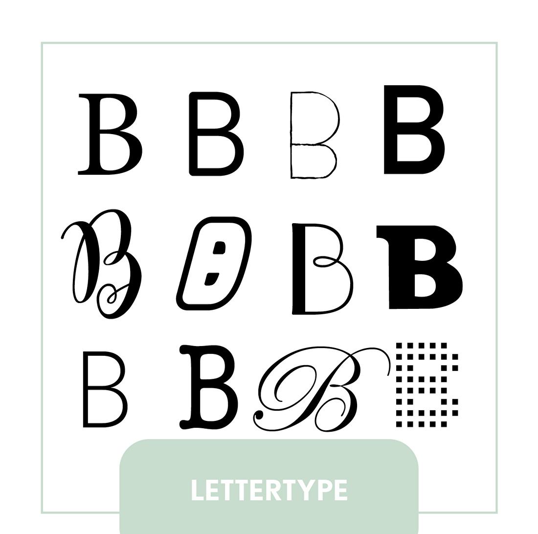 Lettertype bij geboortekaartje of trouwkaart. Klassiek, modern, minimalistisch, handlettering