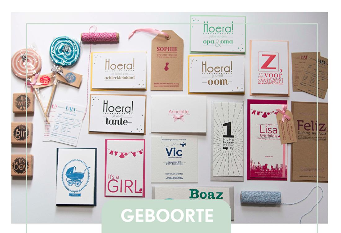 geboortjekaartje letterpress, sluitzegels, raamboden geboorte,