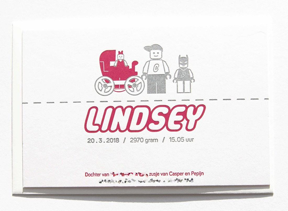 geboortekaartje letterpress leogo zusje goedkoop